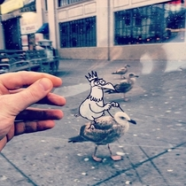 Pic #3 - Illustrator Doodles Cartoons on Transparency Film and Places Them in Real World Scenes