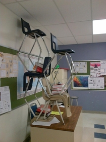 Pic #3 - My class decided to make little chair structures and it ended up escalating to something really big that everyone in the school knew about and ended up in the schools yearbook