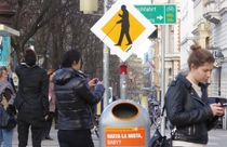 Pic #3 - Street signs warning of technically blind pedestrians