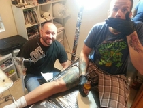 Pic #4 - My blind friend Nick had the opportunity to ink his tattoo artist