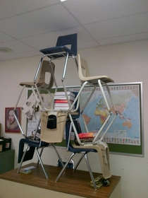 Pic #4 - My class decided to make little chair structures and it ended up escalating to something really big that everyone in the school knew about and ended up in the schools yearbook