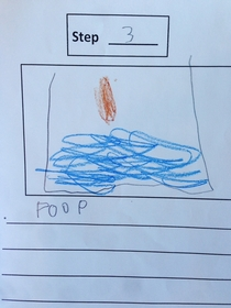 Pic #4 - My kid made a How to Poop instructional booklet in kindergarten today