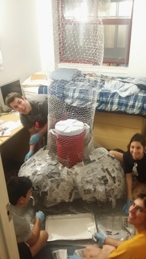 Pic #4 - My suitemate went away for spring break so we built a giant penis in his room