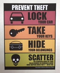 Pic #5 - I added some new anti-theft signs to a mall parking lot