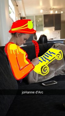 Pic #5 - I use snapchat mostly just to secretly take pics of my girlfriend doing things and then I draw her into all kinds of settings and send to our friends These are some of the snaps so far
