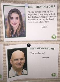 Pic #5 - I wrote some fake Best Memories of  and left them on a community bulletin board