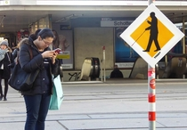 Pic #5 - Street signs warning of technically blind pedestrians