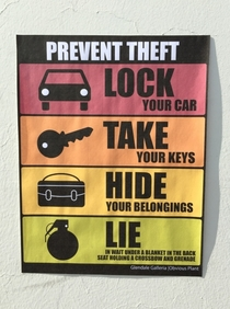 Pic #7 - I added some new anti-theft signs to a mall parking lot