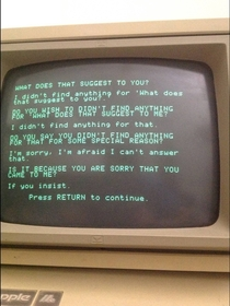 Pic #7 - This is what happens when Siri has a conversation with a more primitive AI program running on a -year-old Apple II