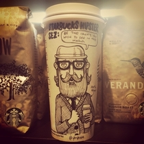 Pic #8 - Cartoonist draws on his coffee cup every morning