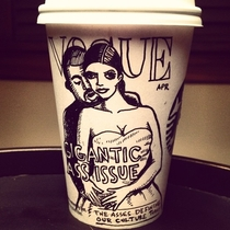 Pic #9 - Cartoonist draws on his coffee cup every morning
