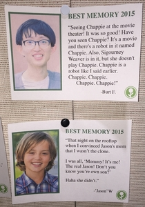 Pic #9 - I wrote some fake Best Memories of  and left them on a community bulletin board