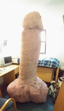 Pic #9 - My suitemate went away for spring break so we built a giant penis in his room