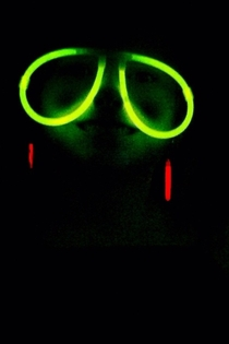 Pic of my daughter wearing glow in the dark glasses looks like a sloth on its way to the slowest rave ever