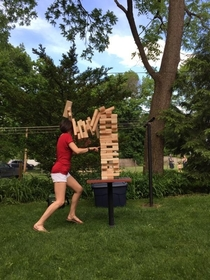 Played giant jenga on Memorial Day girlfriend lost