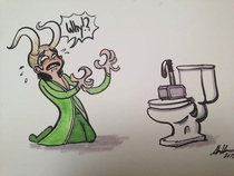 Poor Loki on diarrhea trolled by Thor