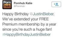 Pornhub wishing Justin Bieber a happy birthday