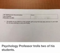 Professor pranks students