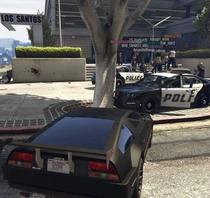 Protesters gather outside Los Santos PD in Grand Theft Auto online