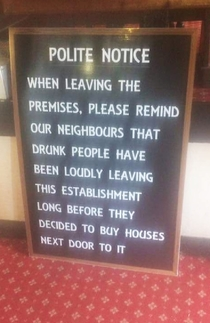 Pubs Hilarious Sign For Its Neighbours
