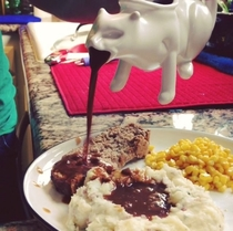 Puking kitty gravy boat thanks Kickstarter