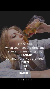 Putting motivational exercise quotes on pictures of people drinking