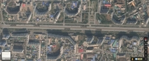 Pyongyangs high-rise buildings as seen from Google maps just flimsy facades facing the highway