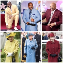 Queen Elizabeth and Steve Harvey always dress like theyre going to the prom together