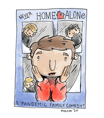 Quick sketch I did As a parent during the pandemic I am never home alone