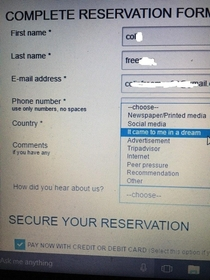 Rather amusing option for How did you hear about us on a Nigerian hotel booking form