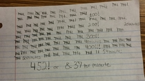 Rather than take notes I counted the number of times my calculus professor said uh or uhm in a  minute lecture