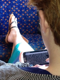 Reading Harry Potter on the bus