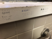 Reviews found in a college bathroom