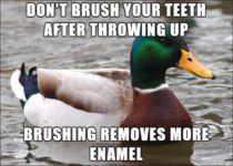 Rinse your mouth with water instead