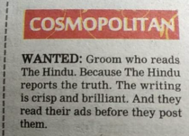 Rival newspaper sneaked in this ad in the Matrimonial section