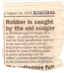 Robber is caught by the old codger