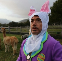 Robert Downey Jr in a bunny suit