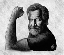 Robin Williams passed away  years ago today I drew this last year as a tribute to one of my childhood heroes