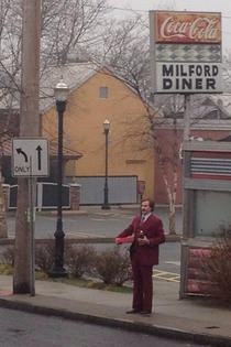 Ron Burgundy came to my town todaywith Dunkin Donuts and a