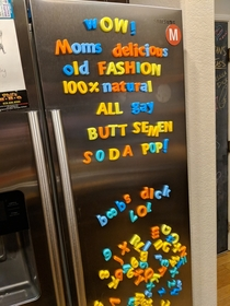Room mate got magnetic letters for a Xmas gift this year Were