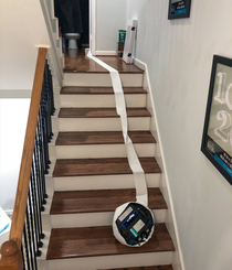 Roomba Suicide in my House last night It somehow wrapped up its sensors in TP and headed off the edge