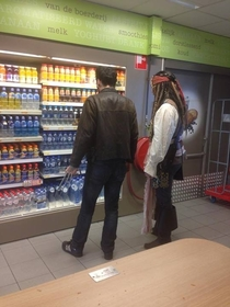 Saw Jack Sparrow and Wolverine shopping for a bottle of water today
