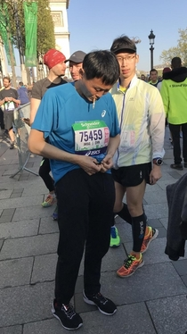 Saw this guy getting warmed up before the Paris marathon today