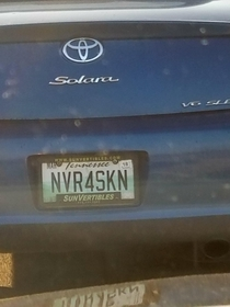 Saw this license plate and spent  minutes speculating on why the driver might be so staunchly pro-circumcision before eventually realizing this is probably meant to be never forsaken