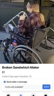 Saw this today on my local Facebook Marketplace Description said Broken sandwhich maker Also makes a whining sound when left alone to long