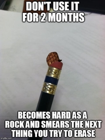 Scumbag pencil eraser