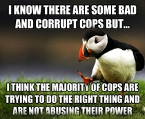 Seems to be very unpopular here on reddit who think there are only abusive cops