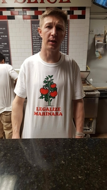 Seen at a pizza shop in New Jersey The whole staff was wearing them Photo taken with permission