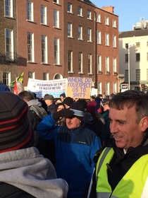 seen at the Irish water protest in Dublin yesterday
