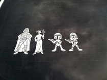 Seen on the back of a car Star Wars fans whats wrong with this family portrait